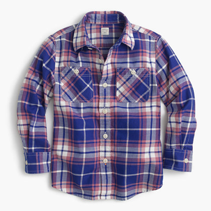Kids' flannel shirt in cobalt plaid