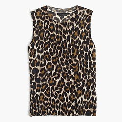 Lightweight wool Jackie sweater shell in leopard