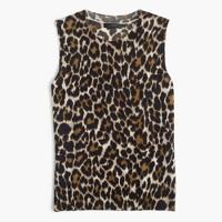 Lightweight wool Jackie sweater shell in leopard