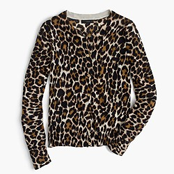 Lightweight wool Jackie cardigan sweater in leopard