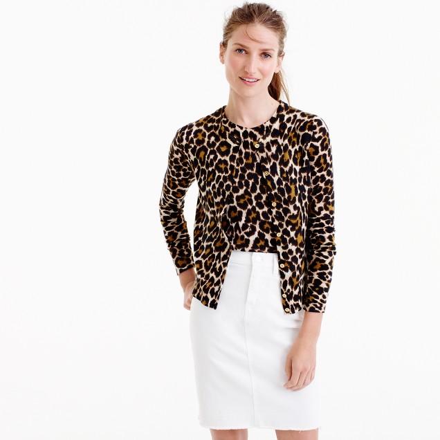 Lightweight wool Jackie cardigan sweater in leopard