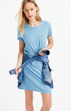 Garment-dyed pocket T-shirt dress