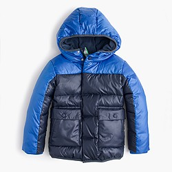 Boys' colorblock marshmallow puffer jacket