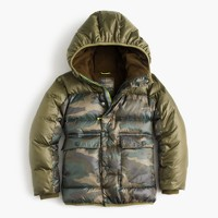 Boys' camo colorblock marshmallow puffer jacket