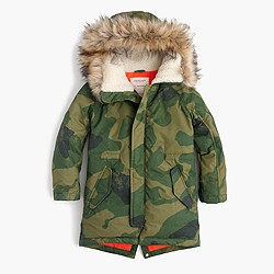 Boys' fishtail parka in camo