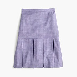 Box-pleated skirt in wool flannel