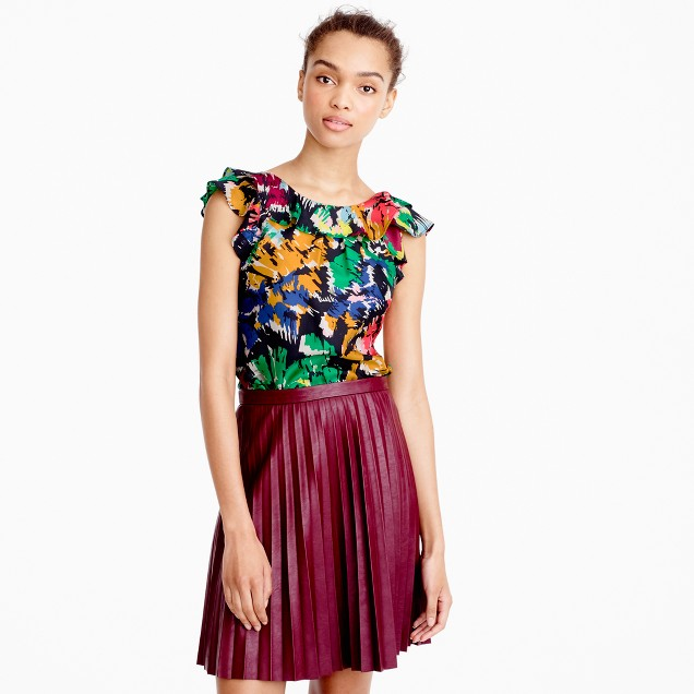 Tall ruffle top in colorful brushstroke print