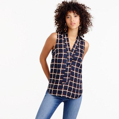 Sleeveless silk-twill top in windowpane print