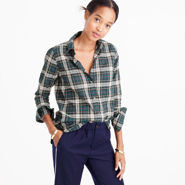 Tallboy shirt in crinkle plaid
