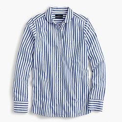 Club-collar boy shirt in textured jacquard stripe