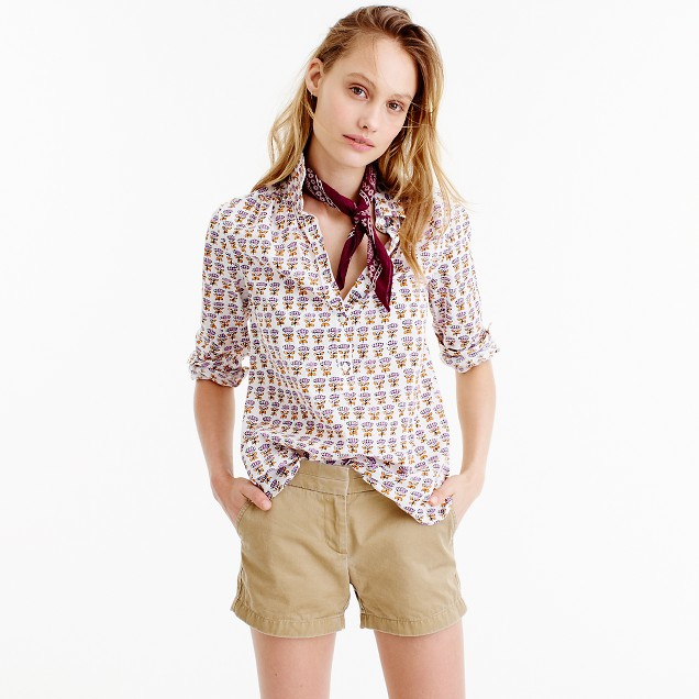 Gathered popover shirt in Indian cotton