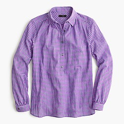 Gathered popover shirt in two-tone lavender gingham