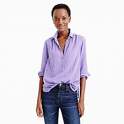 Gathered popover in two-tone lavender gingham