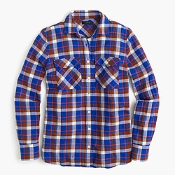 Boyfriend shirt in cerulean plaid