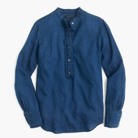 Petite ruffled indigo gauze popover shirt