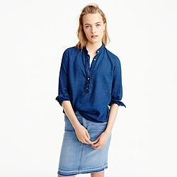 Tall ruffled indigo gauze popover shirt