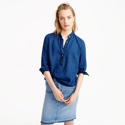 Ruffled indigo gauze popover shirt
