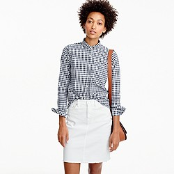 Petite club-collar boy shirt in gingham