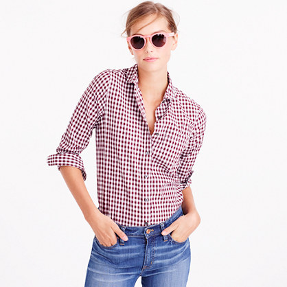 Tall club-collar boy shirt in gingham