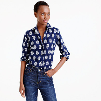 Tall perfect shirt in fern-printed Indian cotton