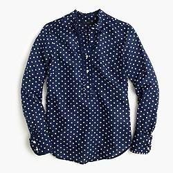 Ruffled popover shirt in polka dot