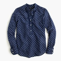 Tall ruffled popover shirt in polka dot