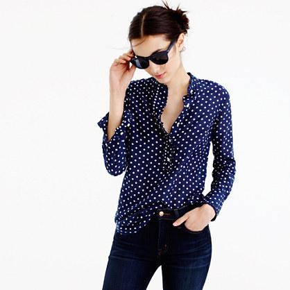 Petite ruffled popover shirt in polka dot