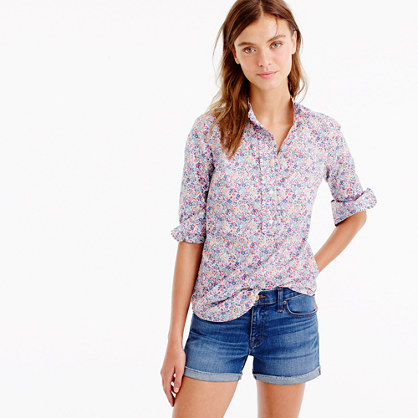 Ruffled popover shirt in Liberty Art Fabrics Emma and Georgina print