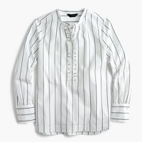 Striped ruffled popover shirt