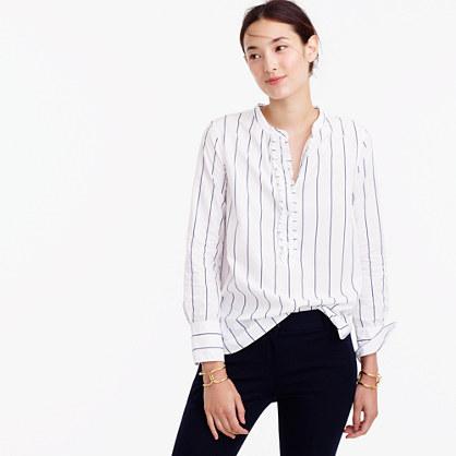 Striped ruffled popover shirt