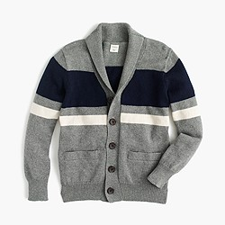 Boys' shawl-collar striped cardigan