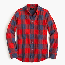 Boy shirt in fiery sunset buffalo check