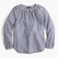 Tie-neck top in shirting stripe