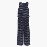 Silk overlay jumpsuit in polka dot