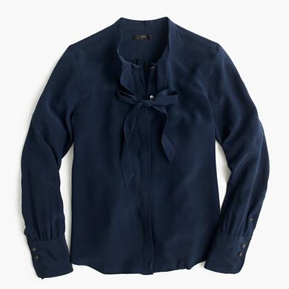 Petite tie-front silk top