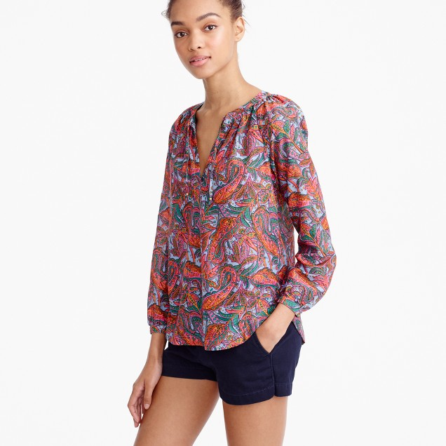 Tie-neck top in vibrant paisley
