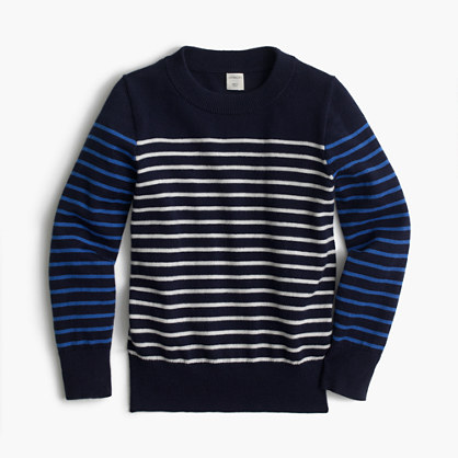 Boys' cotton-cashmere crewneck sweater in stripe combo