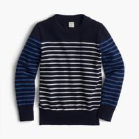 Boys' cotton-cashmere crewneck sweater in stripe combo