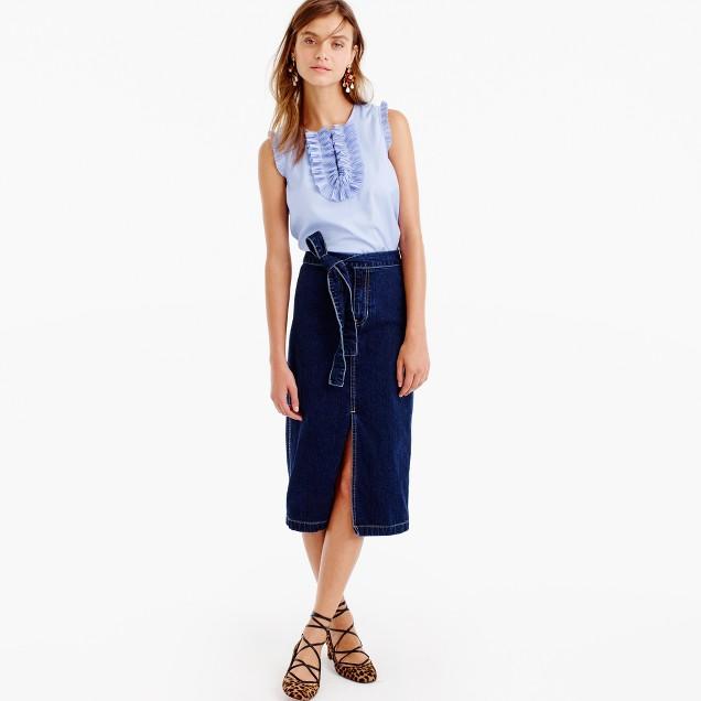 Denim tie-waist skirt