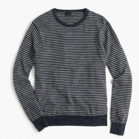 Textured cotton crewneck sweater in stripe