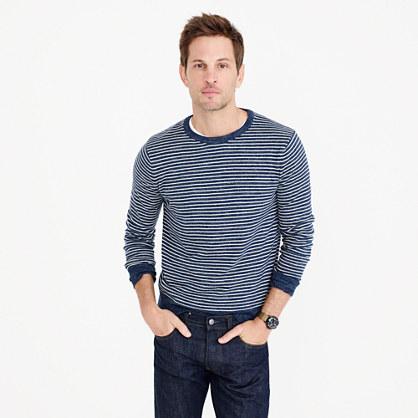 Textured cotton crewneck sweater in stripe