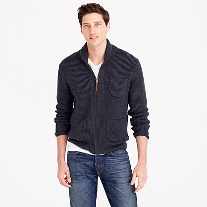 Cotton full-zip shawl-collar sweater