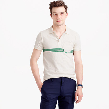 Textured cotton polo shirt in double stripe
