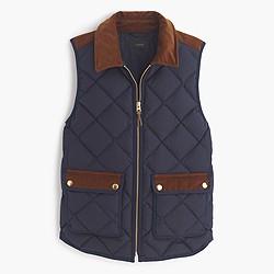 Excursion vest with corduroy trim