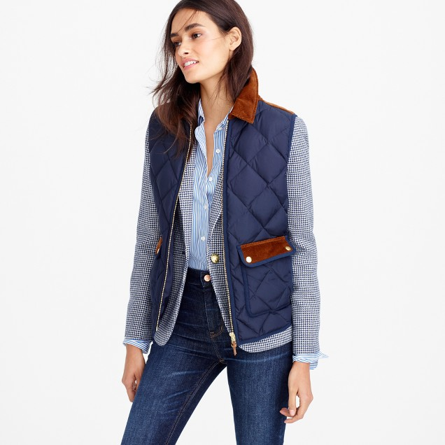 Excursion vest with corduroy trim