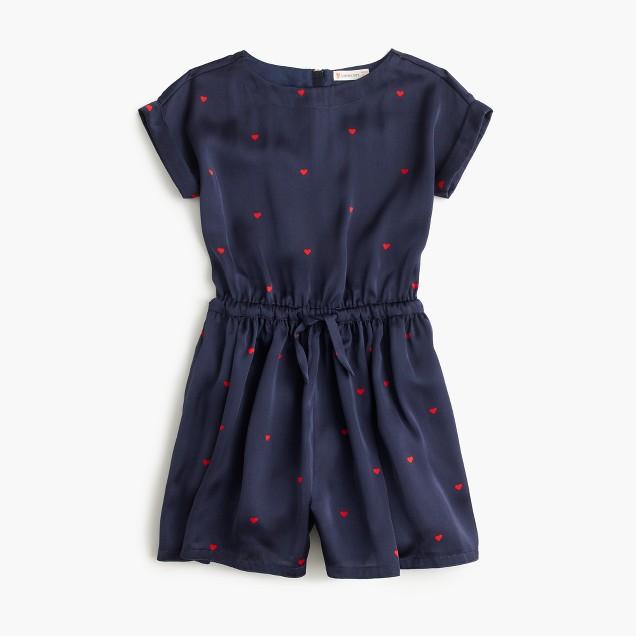 Girls' drapey polka-dot romper