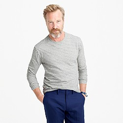 Nautical-striped long-sleeve T-shirt in heathered cotton