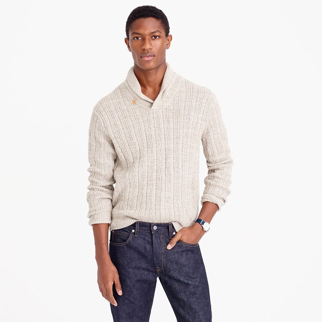 Cotton mariner shawl-collar sweater