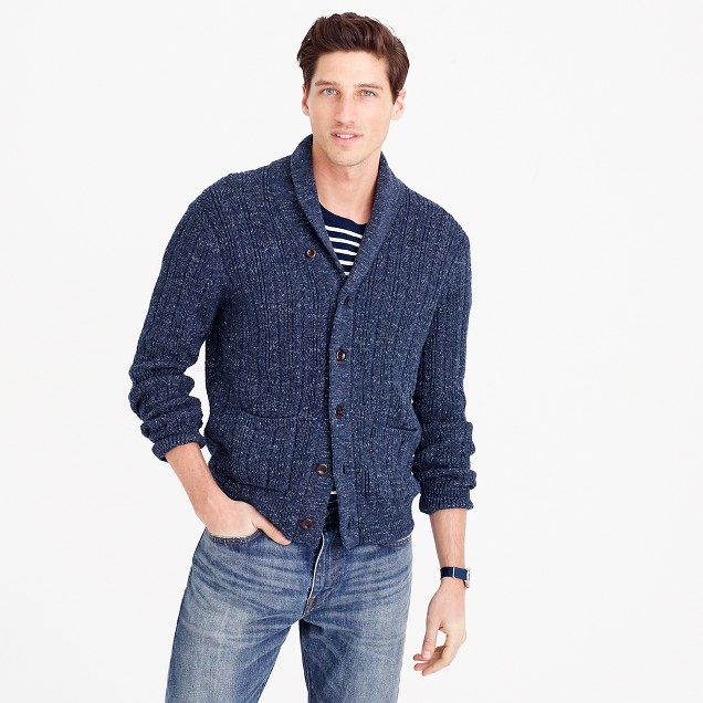 Cotton mariner shawl-collar cardigan sweater