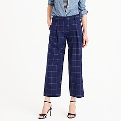 Pleated wide-leg pant in windowpane glen plaid